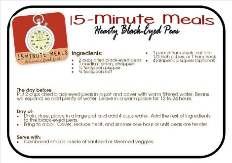 15 Minute Meals:  Hearty Black Eyed Peas