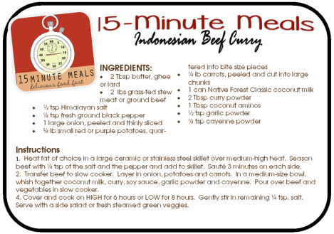 15-Minute Meals:  Indonesian Beef Curry
