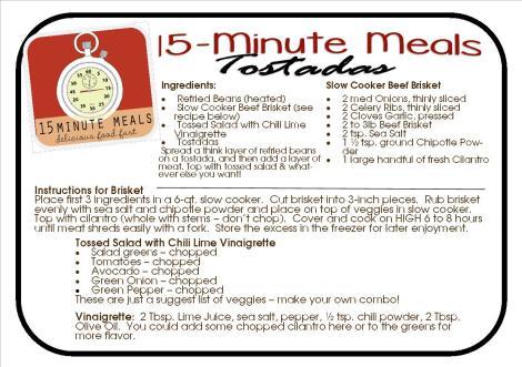 15 MInute Meals:  Tostadas from Ruthann